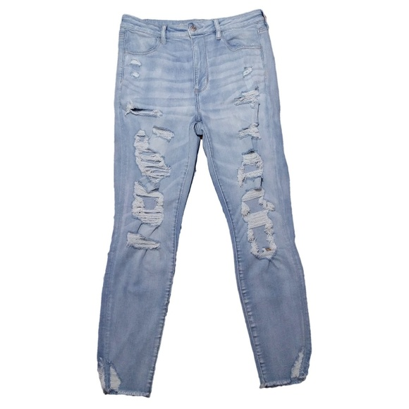 American Eagle Jegging Crop Jeans Super Hi Rise Next Level Stretch Ripped NWT